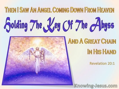 Revelation 20:1 The Angel With Key To Abyss (purple)