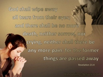 Revelation 21:4 God Shall Wipe Away All Tears From Their Eyes (brown)