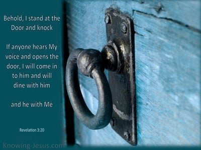 Revelation 3:20 Behold I Stand at the Door And Knock (aqua)
