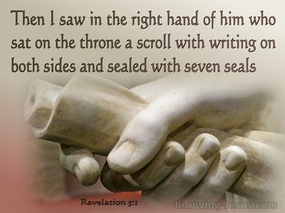 Revelation 5:1 Then I Saw In His Right Hand A Scroll With Writing On Both Sides (beige)