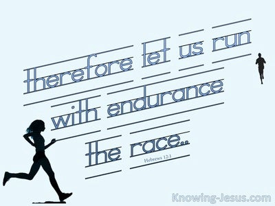 Hebrews 12:1 Let Us Run With Endurance The Race (blue)