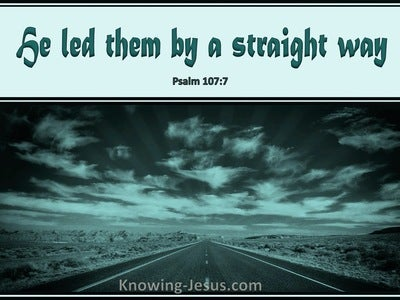 Psalm 107:7 He Led Them By A Straight Way (green)