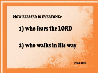 Psalm 128:1 How Blessed Are They (orange)