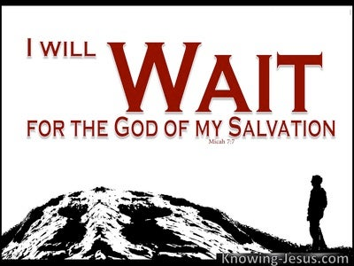 Micah 7:7 Wait For The God Of My Salvation (red)