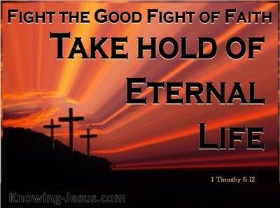 1 Timothy 6:12 Fight the Good Fight of Faith (orange)