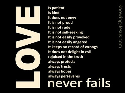 1 Corinthians 13:8 Love Never Fails (black)