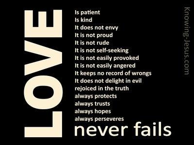 1 Corinthians 13:8 Love Never Fails (black)
