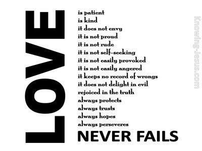 1 Corinthians 13:8 Love Never Fails (white)