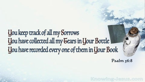 Psalm 56:8 You Collect All My Tears In Your Bottle (blue)