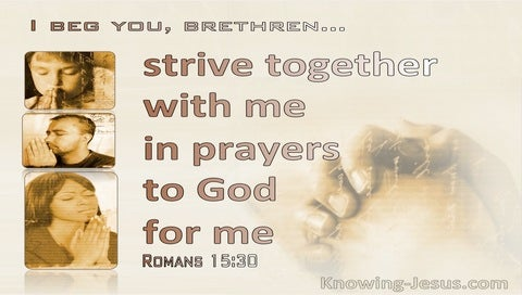 Romans 15:30 Strive Together With Me In Prayer (beige)