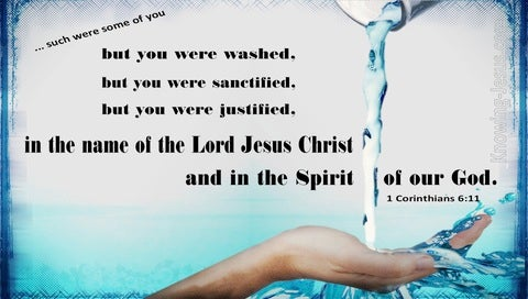1 Corinthians 6:11 You Were Washed, Sanctified, Justified (aqua)