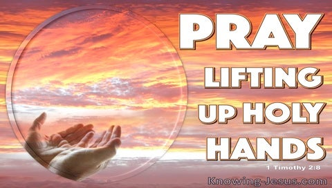1 Timothy 2:8 Pray Lifting Up Holy Hands (pink)