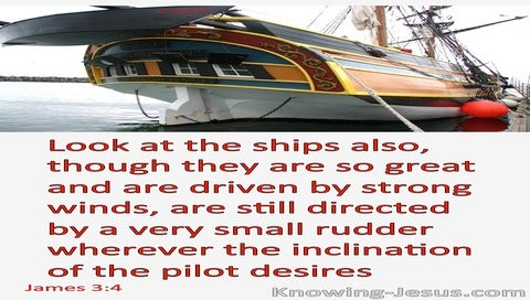 James 3:4 Ships Are Directed By A Small Rudder (red)
