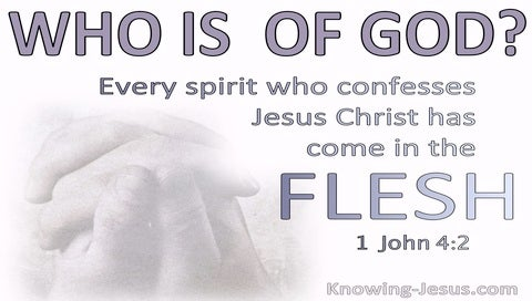 1 John 4:2 Every Spirit Who Confesses Jesus Christ Has Come In The Flesh Is Of God (purple)