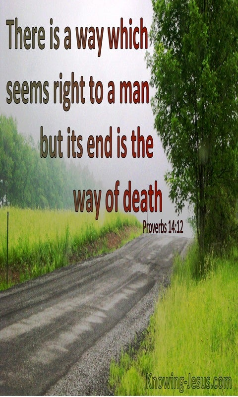 Proverbs 14:12 There Is A Way That Seems Right To Man But The End Is Death (red)