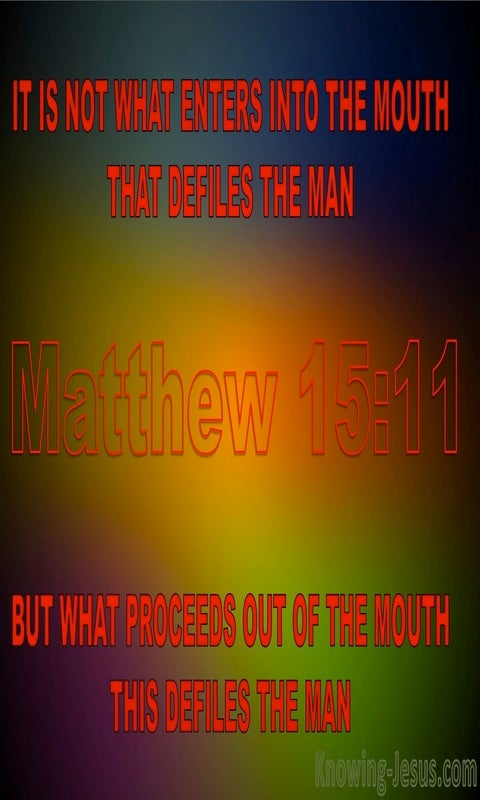 Matthew 15:11 What Defiles A Man (red)