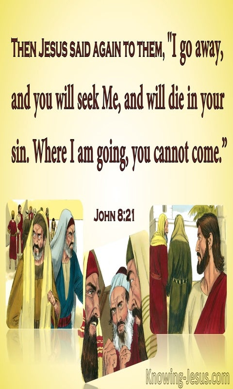 John 8:21 You Will Die In Your Sin (yellow)