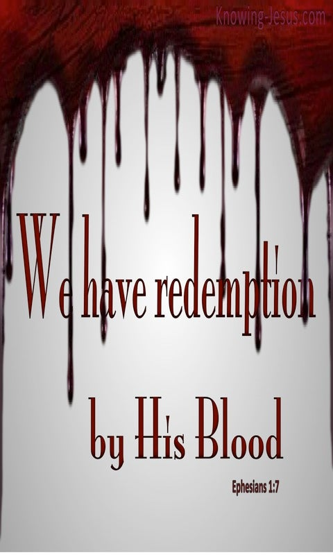 Ephesians 1:7 Redeemed By His Blood (gray)