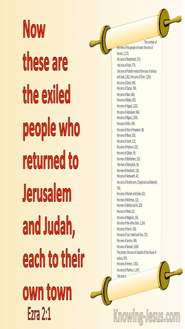 Ezra 2:1 These Are The People Who Came Into Captivity Whom  King Nebuchadnezzer Took To Babylon (red)