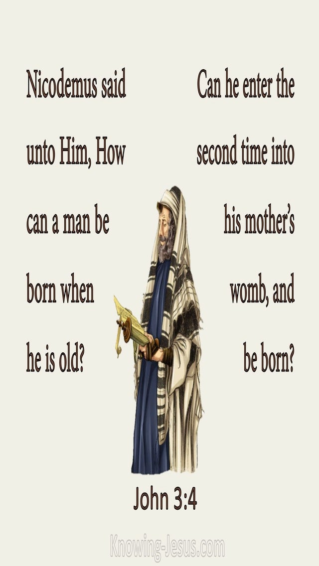 John 3:4 How Can A Man Be Born Again (beige)