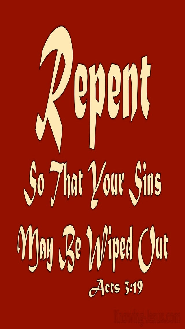 Acts 3:19 Repent So Your Sins Are Wiped Out (red)