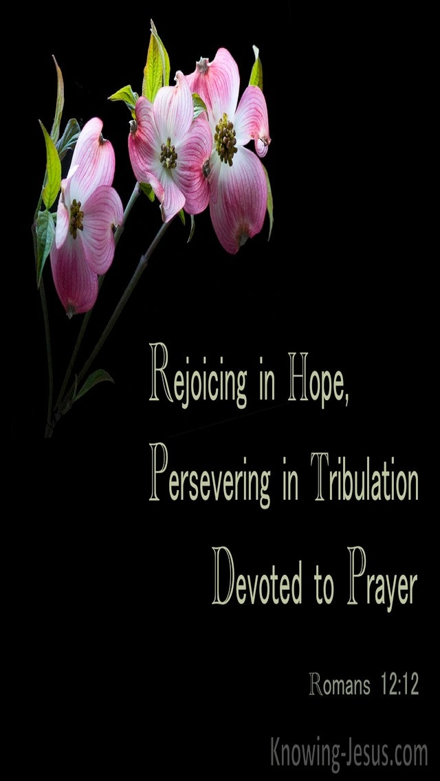 Romans 12:12 Rejoicing In Hope, Persevering In Tribulation, Devoted To Prayer (black)