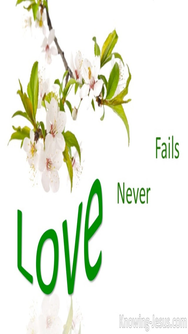 1 Corinthians 13:8 Love Never Fails (green)