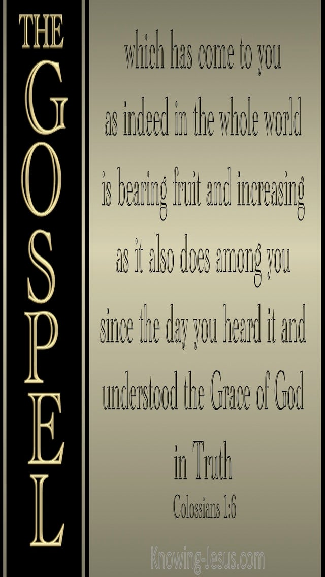 Colossians 1:6 The Gospel Which Has Come To You (gold)