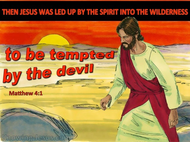 Matthew 4:1 Jesus Was Led Up By The Spirit Into The Wilderness (red)
