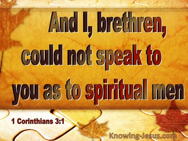 1 Corinthians 3:1 Could Not Speak To You As Spiritual Men (red)