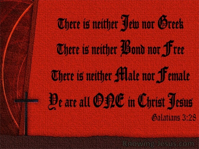 Galatians 3:28 Ye Are All One In Christ Jesus (red)