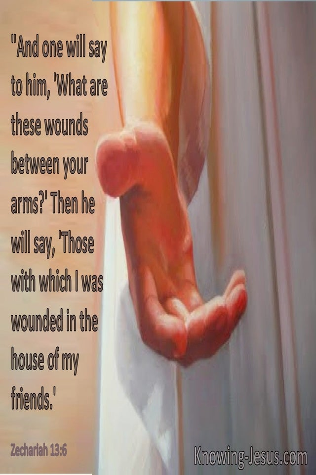 Zechariah 13:6 Whose With Which I Was Wounded In The House Of My Friends (brown)
