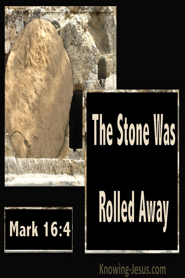 Mark 16:4 The Stone Was Rolled Away (black)