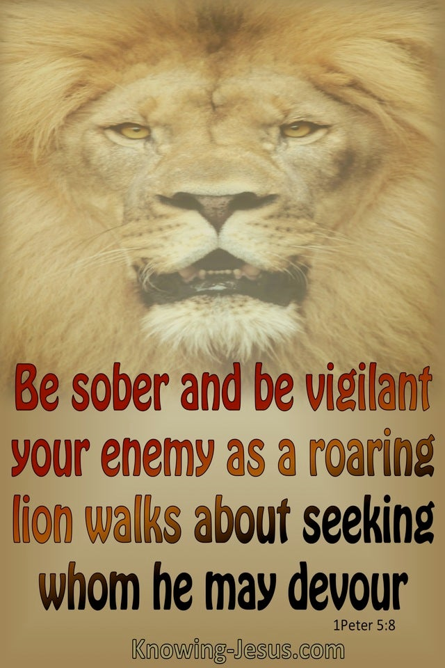 1 Peter 5- 8 Your Enemy Is A Roaring Lion (brown)