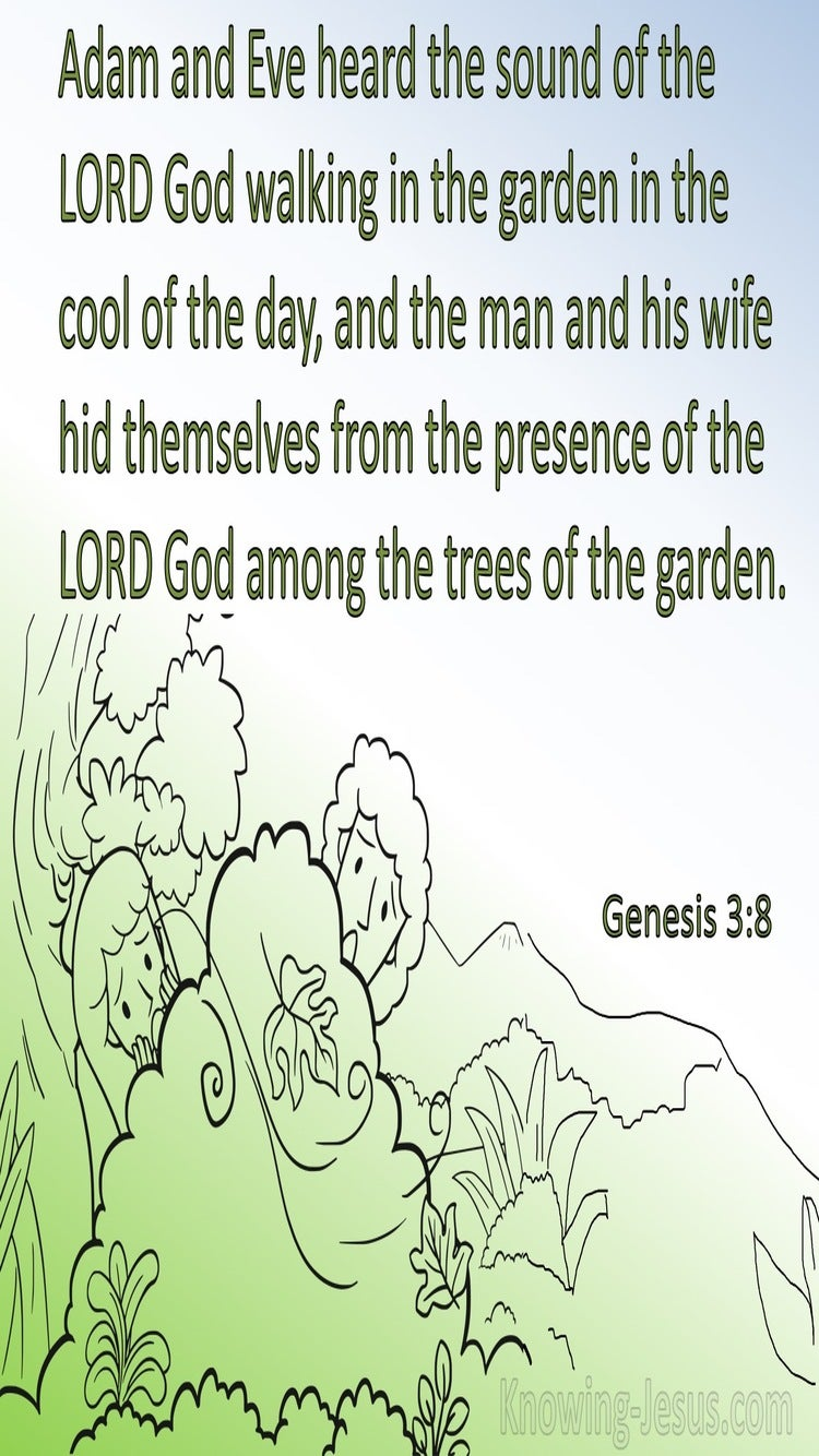 Genesis 3:8 The Man And His Wife Hid Themselves (white)