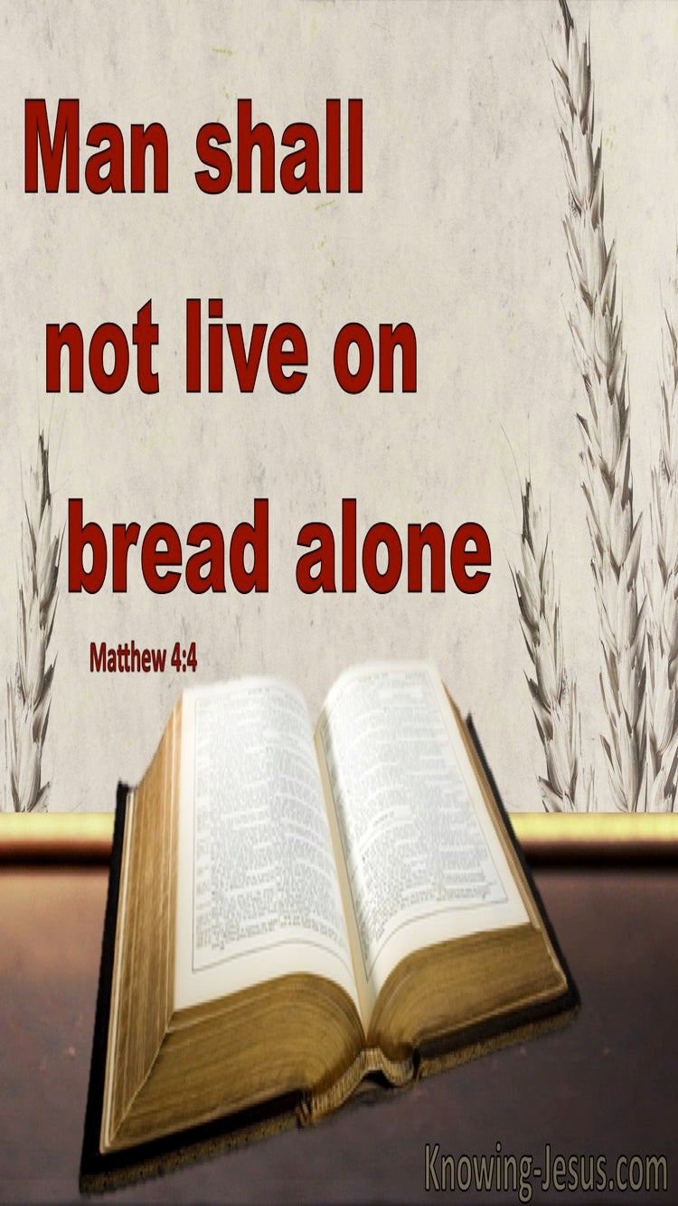 Matthew 4:4 Man Shall Not Live On Breat Alone (gray)