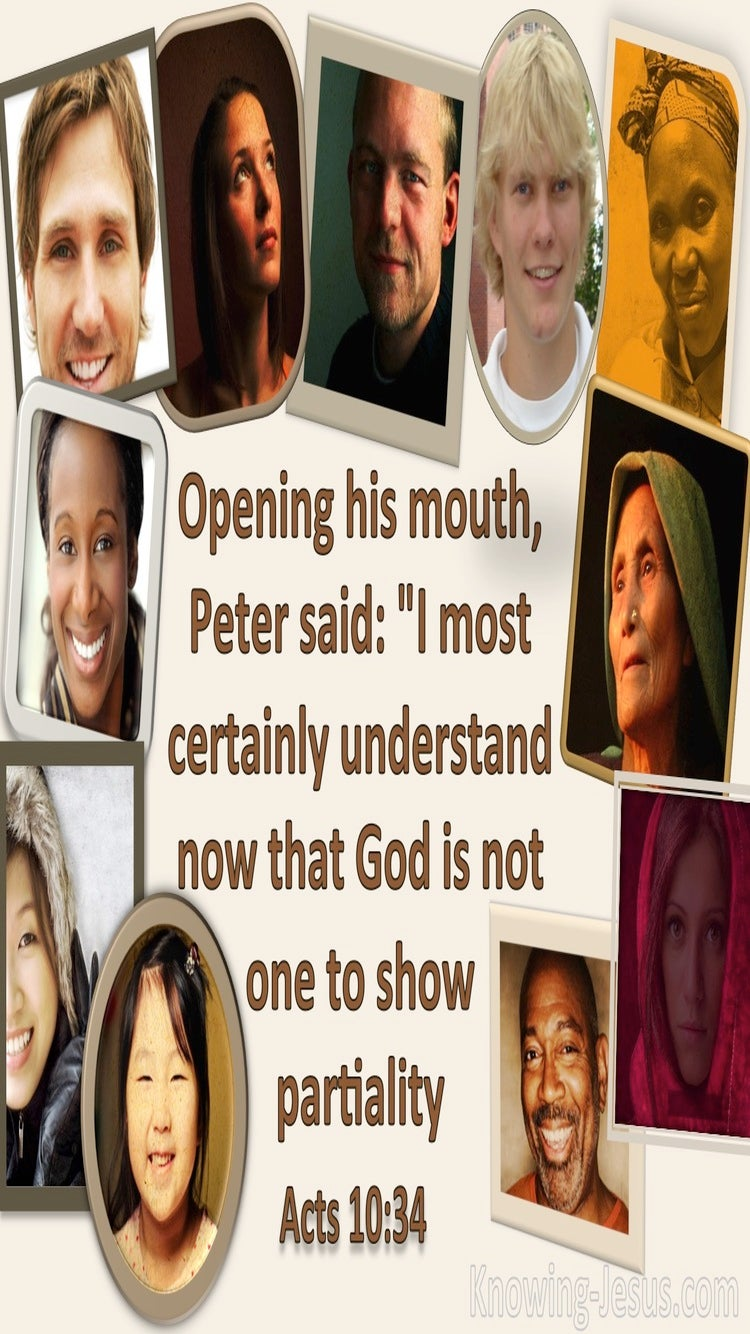 Acts 10:34 God Does Not Show Partiality (cream)