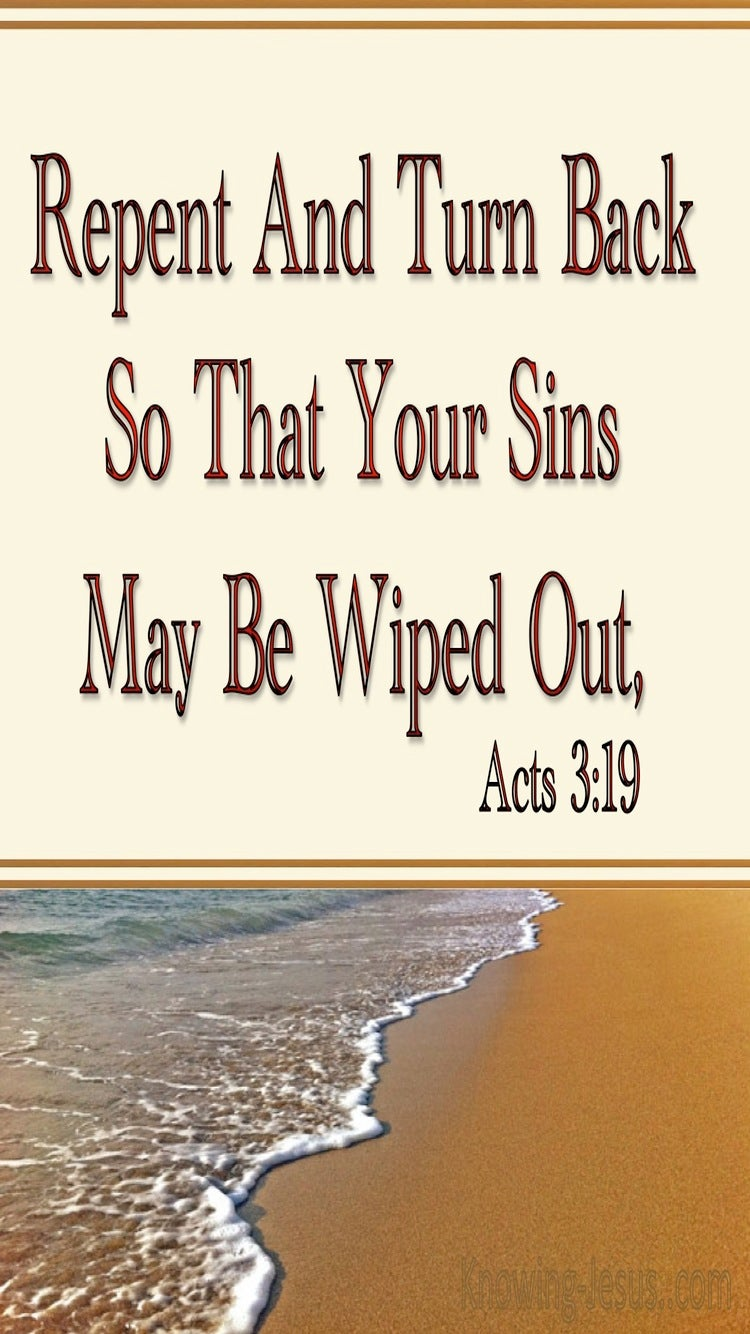 Acts 3:19 Repent So Your Sins Are Wiped Out (beige)