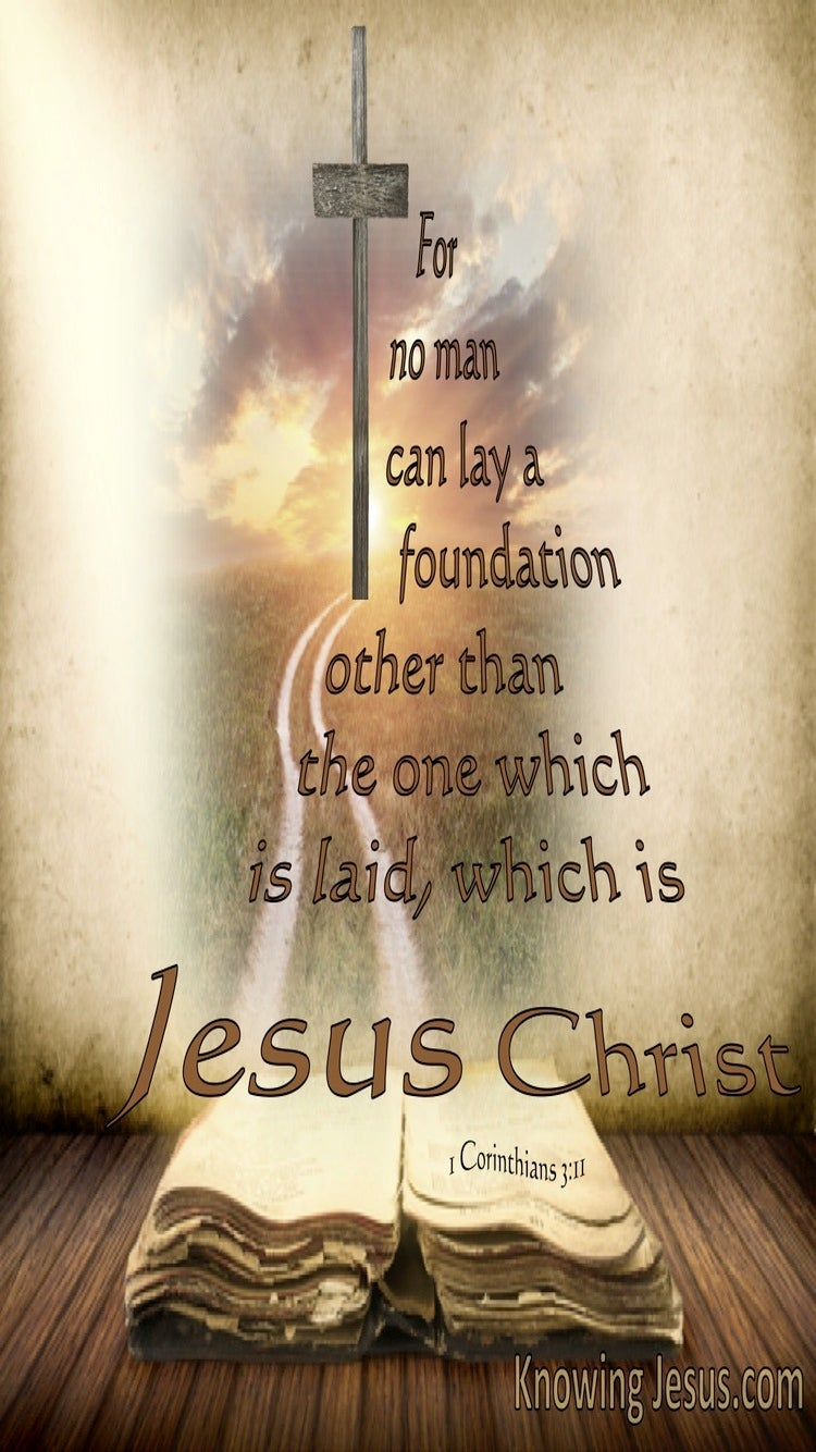 1 Corinthians 3:11 No Other Foundation Than Jesus Christ (beige)