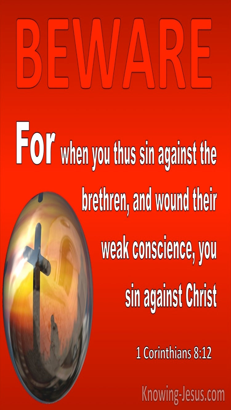 1 Corinthians 8:12 When You Sin Against The Brethren (red)