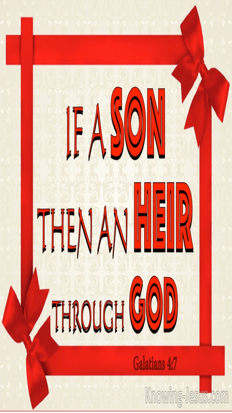 Galatians 4:7 If A Son Then An Heir Through God (red)