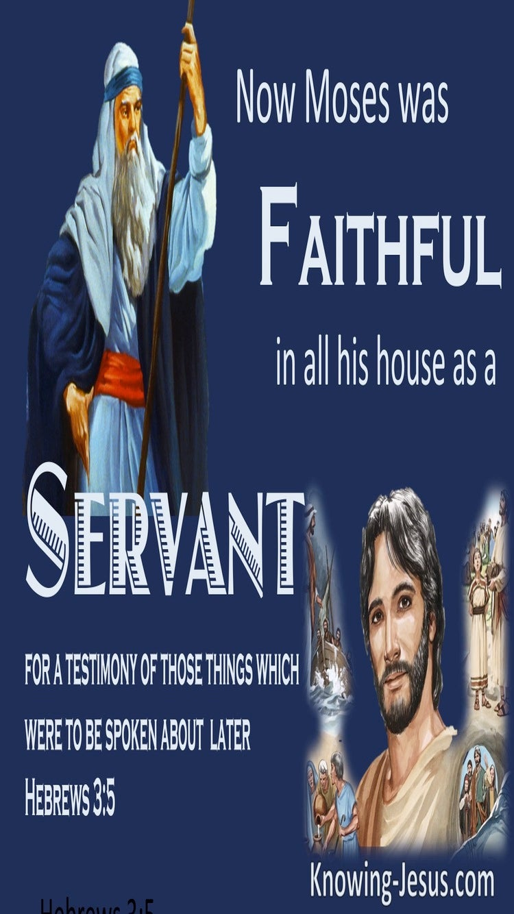 Hebrews 3:5 Moses Was Faithful In His House As A Servant (blue)