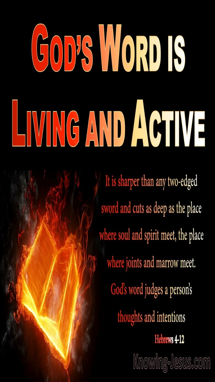 Hebrews 4:12 The Word Is Living And Active (red)