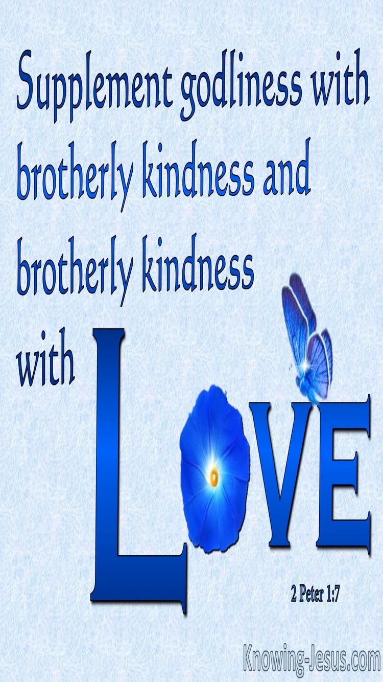 2 Peter 1:7 Godliness, Brotherly Kindness and Love (blue)