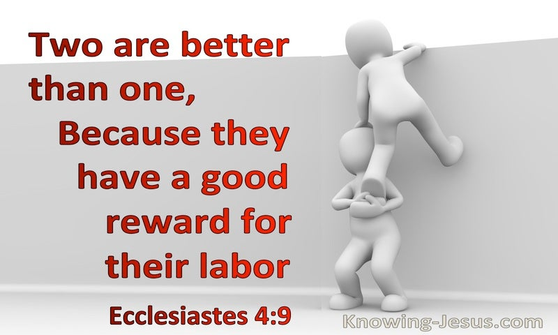 Ecclesiastes 4:9 Two Are Better Than One Because They Have A Good Reward For Their Labour (gray)