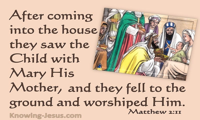 Matthew 2:11 They Came And Worshipped Him (brown)