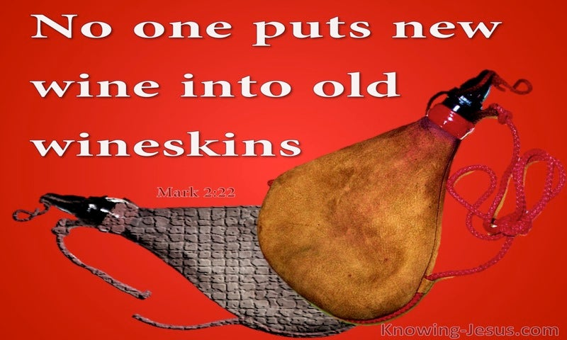 Mark 2:22 No One Puts New Wine Into Old Wineskins (red)