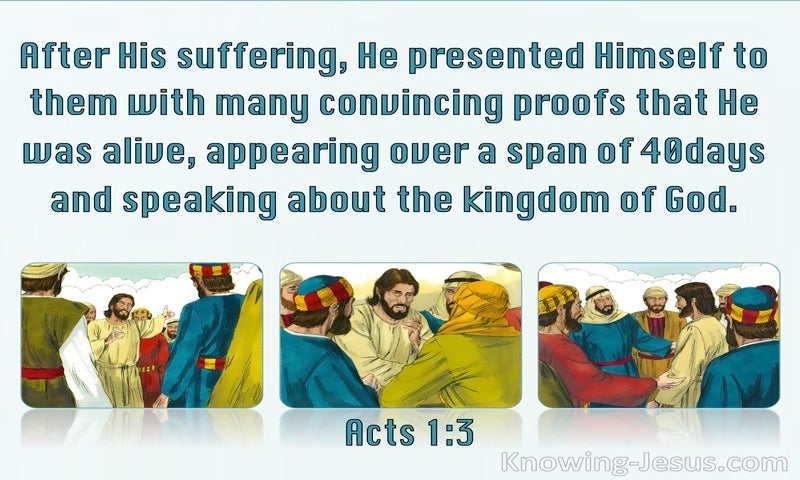 Acts 1:3 Jesus Presented Himself With Many Convincing Proofs (aqua)