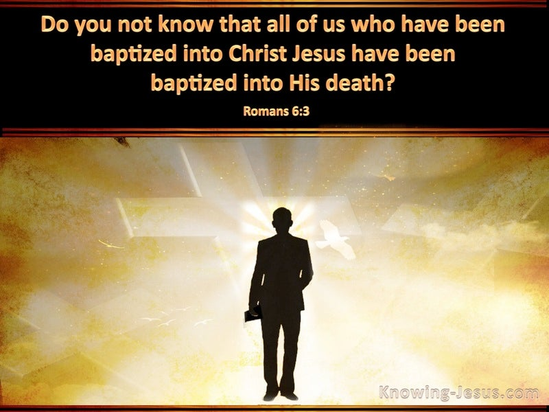 Romans 6:3 Baptised Into His Death (black)