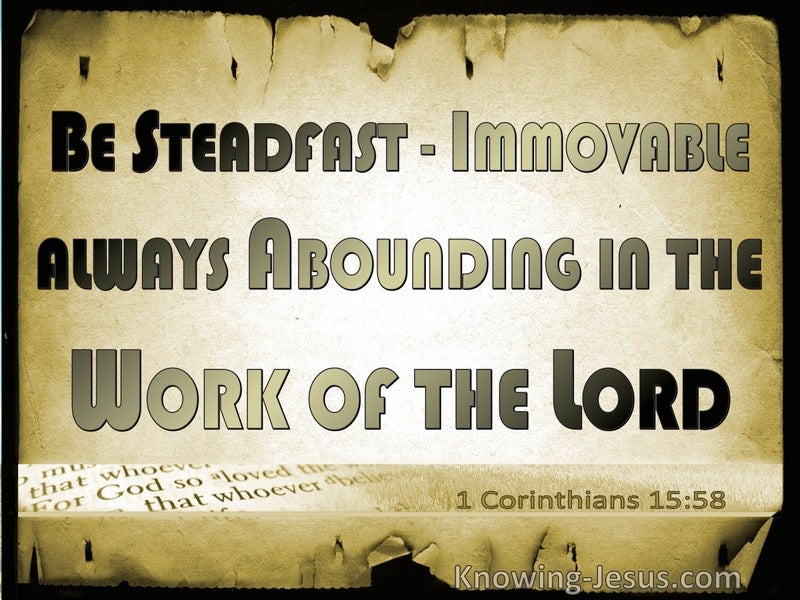 1 Corinthians 15:58 Be Stedfast, Immovable (beige)
